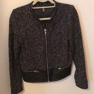 Aqua Black Jacket with Leather Trim